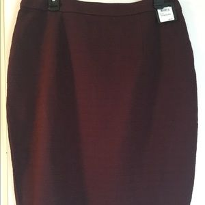 NWT burgundy knit pencil skirt with back zip